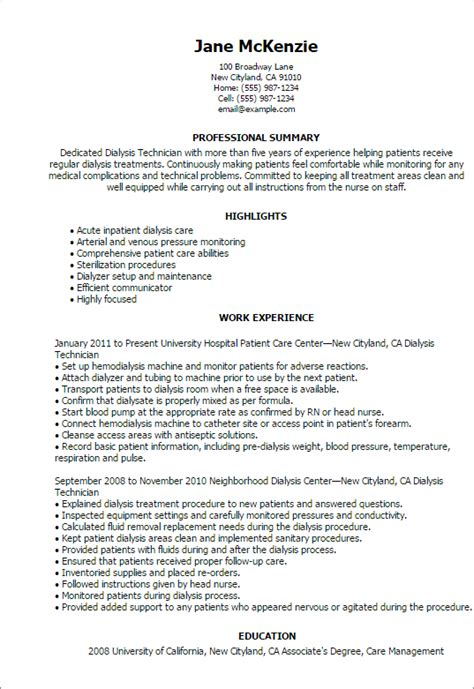 dialysis technician resume sle professional dialysis technician templates to showcase
