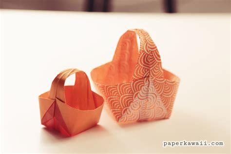 How To Make Paper Basket Origami - origami easter basket tutorial paper kawaii