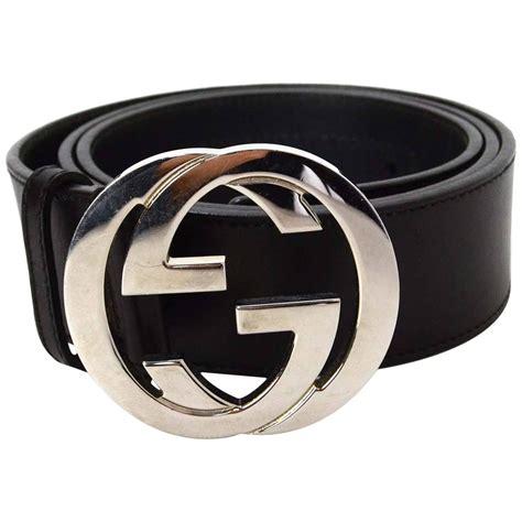gucci black leather belt sz 90 shw at 1stdibs