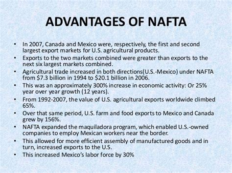 Advantages Of Mba In Canada by Presentation On Nafta