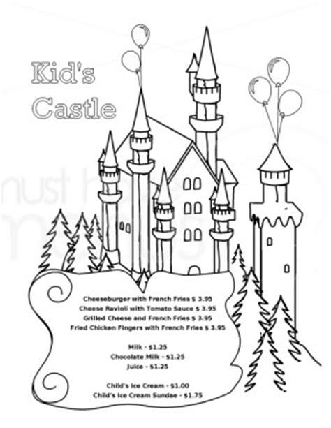 castle coloring menu template kids menus
