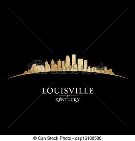 Louisville Ky Skyline Outline by Louisville Kentucky City Skyline Silhouette Black Vector Clip Instant