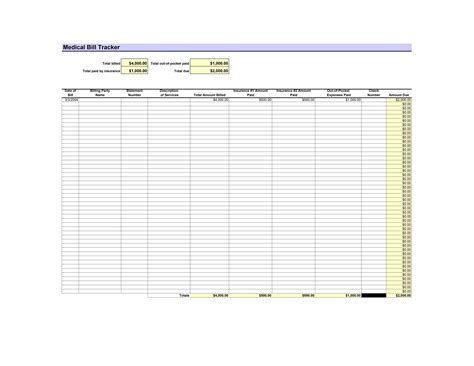 medical bill tracker template