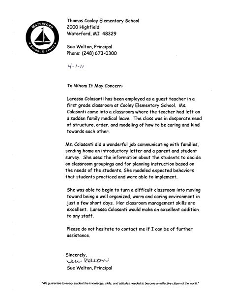 Recommendation Letter For A Grade Student References Letters Of Recommendation Laressa M Colasanti