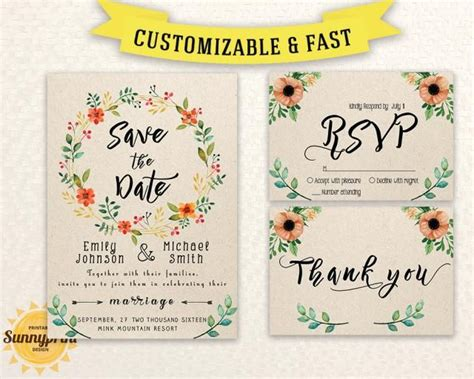 Wedding Invitation Template Download Printable Wedding Invitation Set Wedding Invite Save The Date Invitation Templates Free