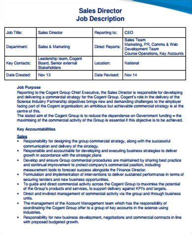 sales director 11 director job description sles sle templates