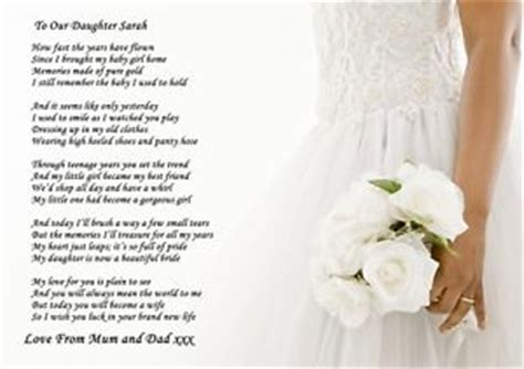 on this the day of my daughters wedding a4 poem to your on wedding day from parents