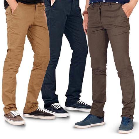 Celana Offwhite Muda celana chino pria celana panjang chino slim fit