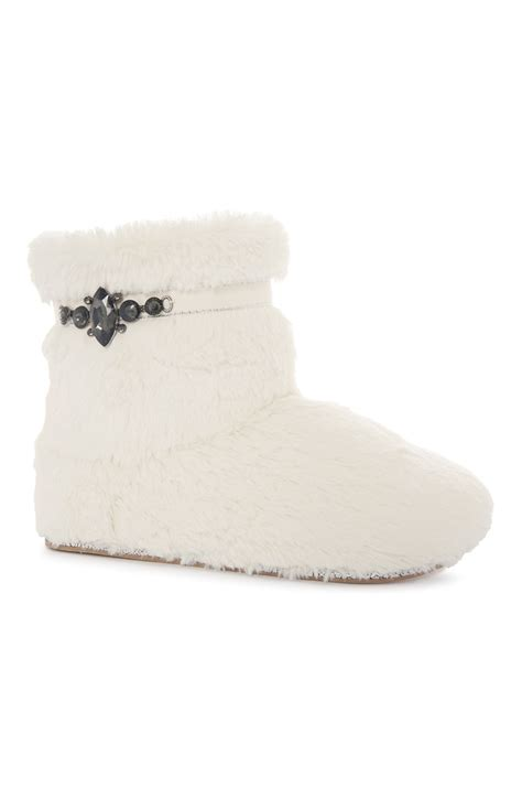 white fluffy slipper boots primark products
