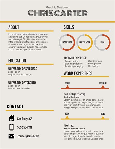 Career Resume Examples by Infographic Resume Template Venngage