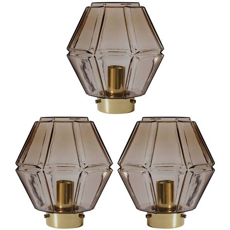 Geometric Light Fixtures 1970s Vintage Geometric Smoked Toned Glass Flush Mount Light Fixtures By Limburg For Sale At 1stdibs