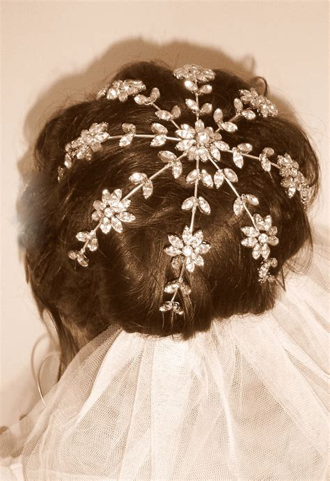 Wedding Hair Bun Wraps by Bridal Bun Cage Rhinestone Navette Bun Wrap By