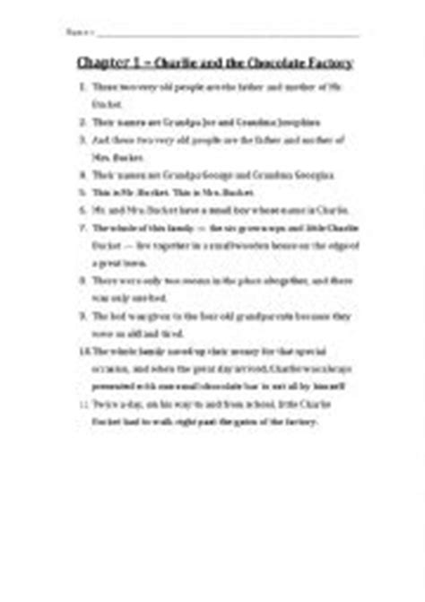 Charlie and the Chocolate Factory Chapter 1 Questions