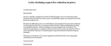 letter declining request for reduction in prices business letter exles