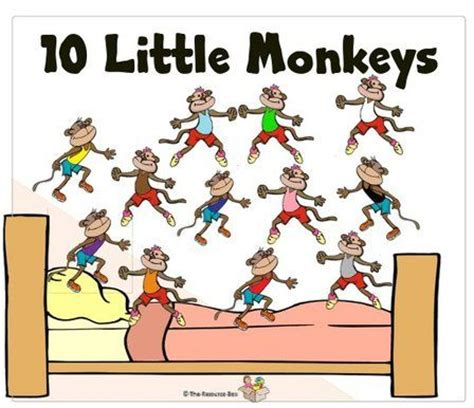 10 monkeys jumping on the bed 10 little monkeys jumping on a bed one fell off and broke