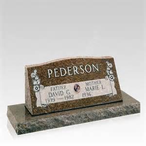 slant grave marker with base