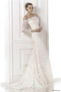 wedding dresses with the shoulder sleeves pronovias atelier bridal 2015 kara shoulder