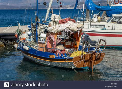 greek fishing boat images old colorful wooden greek fishing boat corfu stock photo