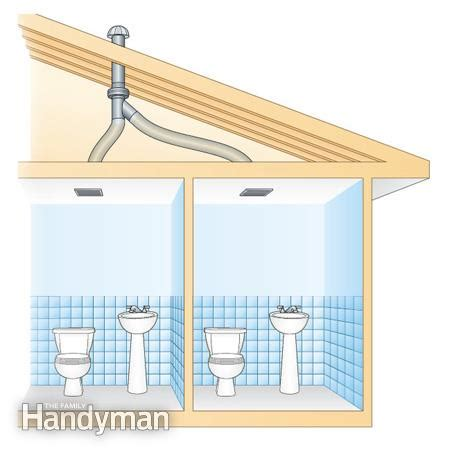 install roof vent for bathroom fan use an in line fan to vent two bathrooms the family handyman