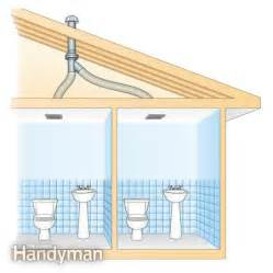 venting bathroom fan through roof use an in line fan to vent two bathrooms the family handyman