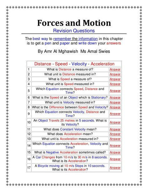 Physical Science Motion And Forces Worksheet Answers by Forces And Motion An Active Worksheet Prepared By Amr