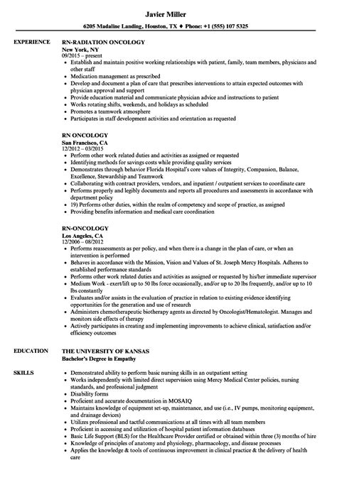 Oncology Resume by Rn Oncology Resume Sles Velvet