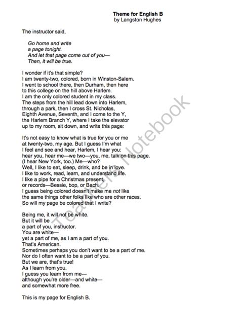Langston Hughes Essay by Theme For B By Langston Hughes Lessons Analysis Writing From Mrs S Clasroom