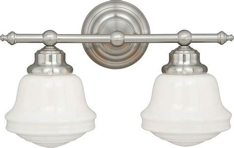satin nickel bathroom light fixtures vaxcel w0169 huntley satin nickel 2 light bath light