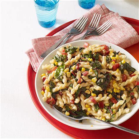 pasta salad with garlicky swiss chard and corn recipe