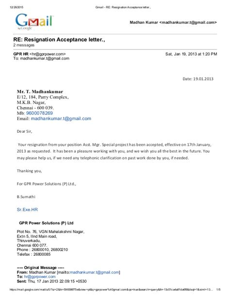 Acceptance Letter Of A Resignation Gmail Re Resignation Acceptance Letter