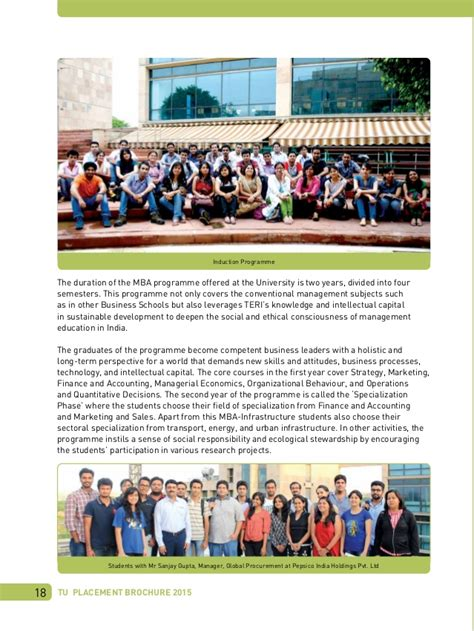 Teri Mba Placements by Teri Placement Brochure Of Mba Programs 2015