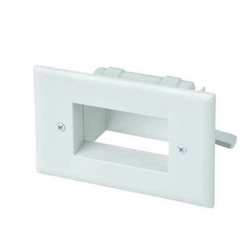 Commercial Electric Low Voltage Recessed Cable Plate   White 5018 WH   The Home Depot