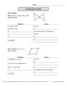 geometry proofs worksheets proving lines parallel
