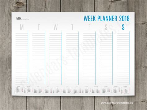 printable weekly planner 2018 pdf a1 a2 and a3 weekly planner template with small yearly