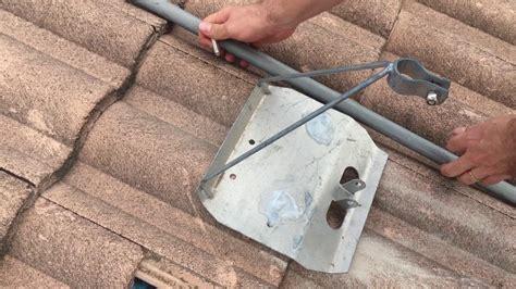 install  tile roof tripod tv antenna mount youtube