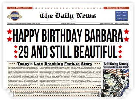 Newspaper Front Page Birthday Card Template by Newspaper Headlines Front Page Gift Prank