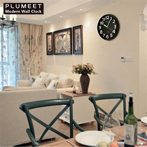 amazon com plumeet large number wall clock 13 silent non ticking large wall clock plumeet 13 silent wall clock with large