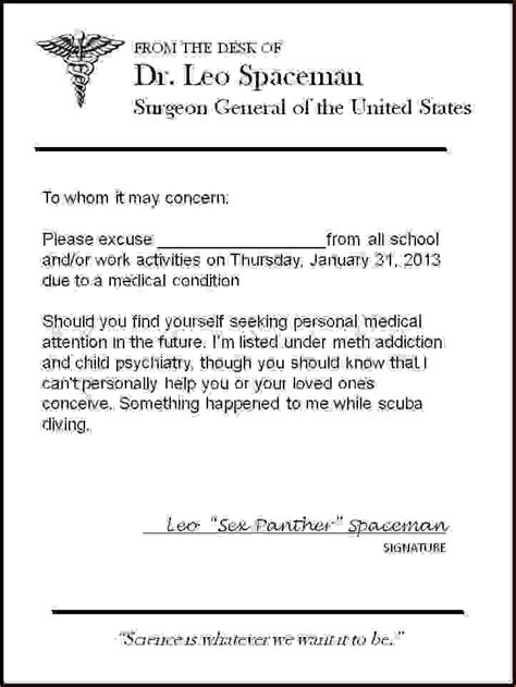 Excuse Letter With Signature 14 Doctors Excuse Letteragenda Template Sle Agenda Template Sle