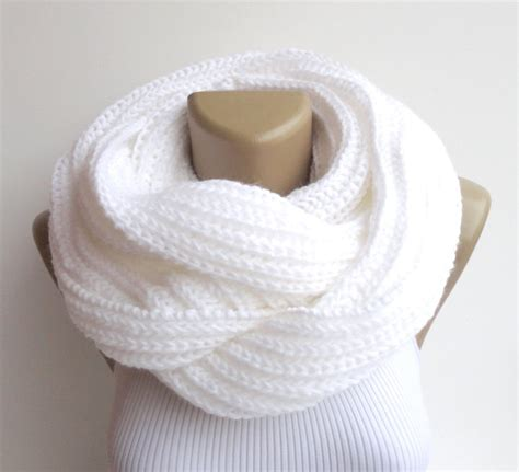 knitted white scarf white infinity scarf knit scarf scarves unisex