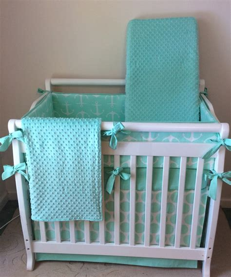 Mini Crib Bedding Set Mint And White Anchors Mini Crib Comforter Set