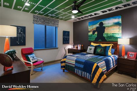 bedroom sports com i like the football field on the ceiling of this teen s