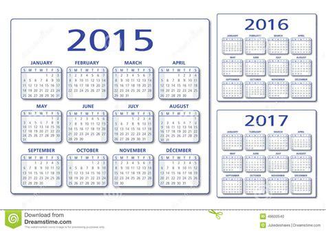 Calendrier Janvier 2016 Avec Numéro De Semaine Vecteur Anglais Du Calendrier 2015 2016 2017 Illustration
