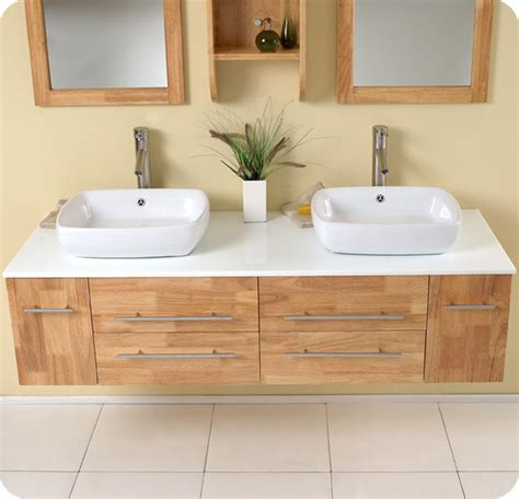 59 quot bellezza double vessel sink vanity natural wood