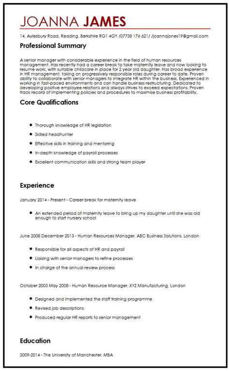 Maternity Cover Letter by Cv Sle With Maternity Leave Curriculum Vitae Builder