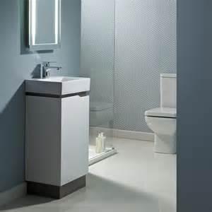 Tavistock Bathroom Furniture Tavistock Edge White Wall Mounted Vanity Unit With Grey Oak Accent 450mm
