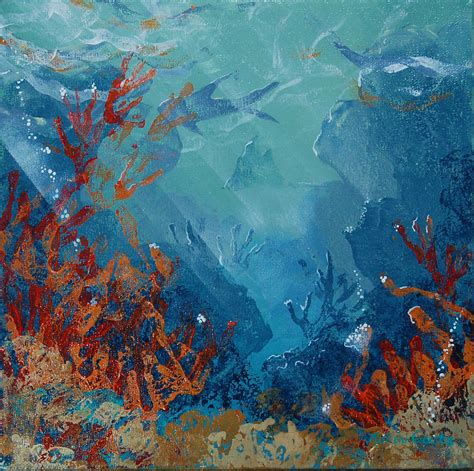 acrylic painting underwater coral reef mixed media by robin coats