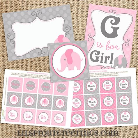 baby shower decorations printable pink elephant baby shower printable decorations instant