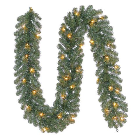 outdoor pre lit garland shop living 9 ft pre lit indoor outdoor ellston