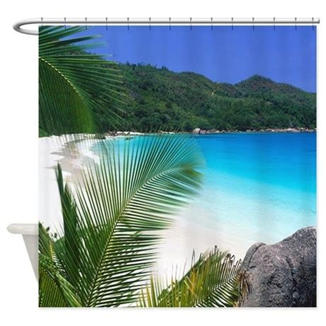 tropical shower curtain tropical paradise beach shower curtain by saponi