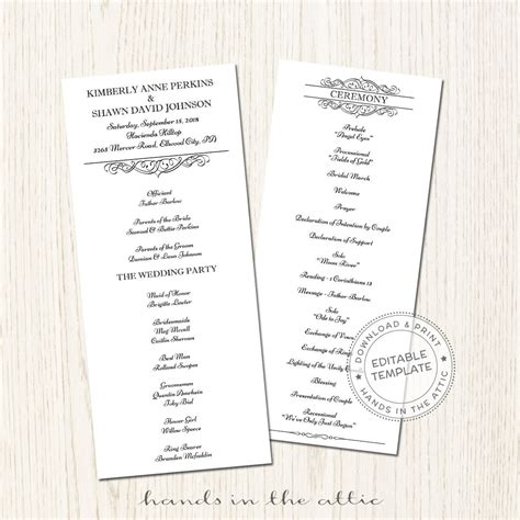 wedding program templates for pages day of schedule printable wedding program template download